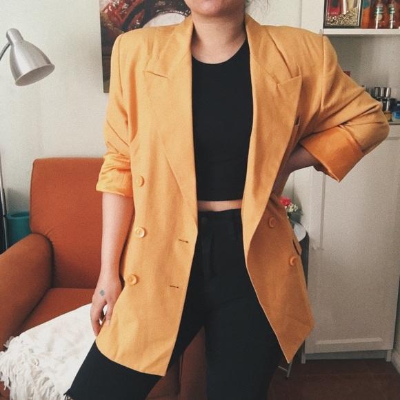 Oleg Cassini Jackets & Blazers - Oleg Cassini Vintage Yellow Mustard Blazer Jacket